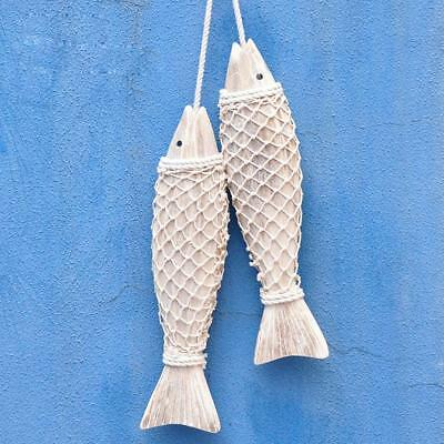 2Pcs Nautical Seaside Hanging Handmade Wooden Marine Fish Home Wall Decor