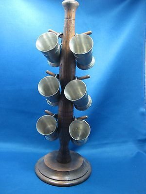 Lot of 6 Antique German Pewter shooters Engraved w/Original Oak Hanger