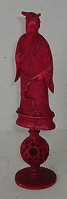 Carved Oriental Figure Antique Chess Piece Mounted On Puzzle Ball