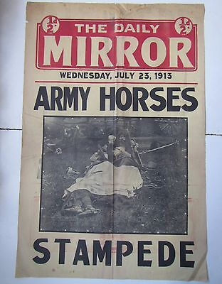 Old Original DAILY MIRROR Newsstand Poster 1913 - Army Horses Stampede WW1