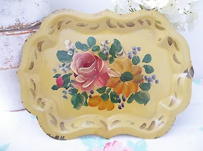 Vintage Sweet Chic ~n~ Shabby Hand Painted Roses Yellow Toleware Tole Tray