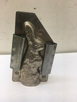 "Vintage Easter Bunny Rabbit Candy Mold 4.5"" Tall Antique All Metal Chocolate #41"