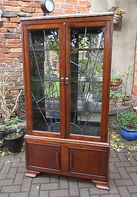 Oak Art Deco Sunburst Glazed Bookcase~Display Cabinet~Mirrored Interior~Cupboard