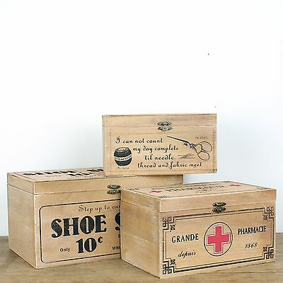 French Vintage Wooden Storage Box First Aid Shoe Shine Sewing Shabby Rustic Wood