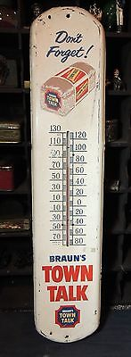 """BIG 39"""" Antique vtg Braun's TOWN TALK BREAD Advertising THERMOMETER Sign works"""