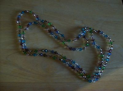 Vintage Multi Coloured, Multi Faceted Glass String Beads (Very Long)
