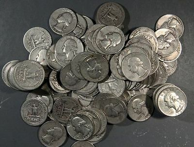 1932-1964 Washington Quarters, Lot Of 12 90% Silver Inv B483