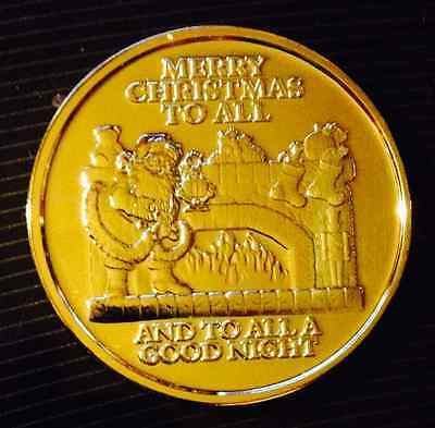 24K Gold Plated 1 Oz .999 Copper Christmas Round - Santa By Fire Place