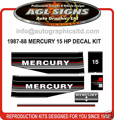 1987 - 1988 Mercury 15 Hp Outboard Motor Decal Set
