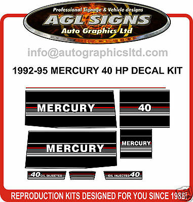 1992 1993 1994 1995 MERCURY 40 HP OUTBOARD Decal Kit , reproductions