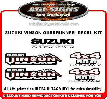 SUZUKI VINSON QUADRUNNER DECAL SET  4X4 ATV  sticker, reproduction