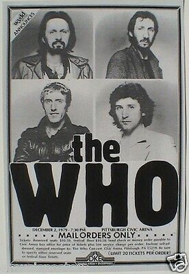 THE WHO 1979 PITTSBURGH CONCERT TOUR POSTER-Townshend, Daltrey, Entwistle, Jones