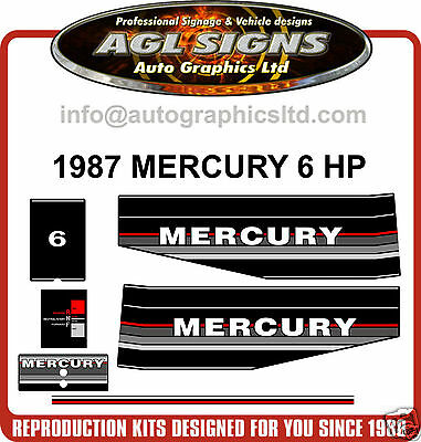 1987 Mercury 6 Hp Outboard Motor Decal Set