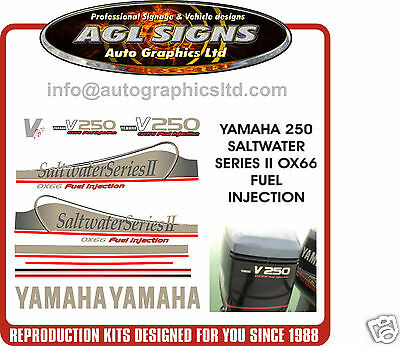 YAMAHA 250 OX66 V6 Saltwater Series II Outboard Decals, Reproductions