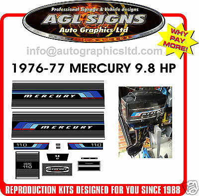 1976 -1977  MERCURY 9.8 hp , 110  OUTBOARD DECALS ,  reproductions