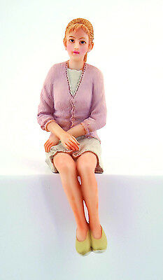 Dolls House Doll:  Resin Figure of a Modern sitting Woman  :   in 12th scale