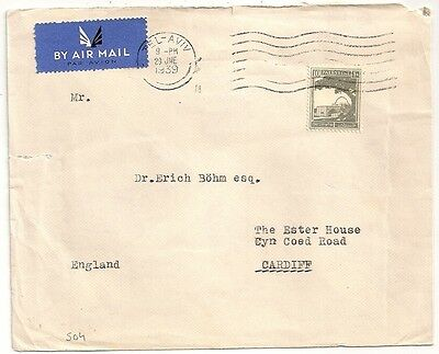 Cover Palestine Tel Aviv 1939 To Cardiff England. L504