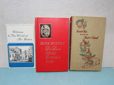 Mr. Boston Bartender Guide 1968 & Trader Vic's Food & Drink Book 1946 Tiki Bar