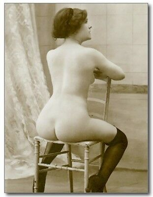 French Woman Seated on Chair Nude Erotic Risque Sex REPRO Vintage