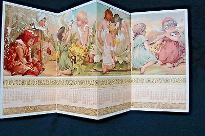 Antique 1888 Victorian Christmas Card Fold Out Advertising Calendar