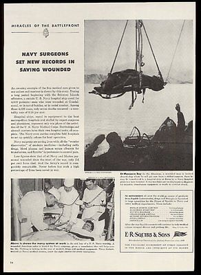 1943 US Navy surgeon doctor on ship WWII photos Squibb pharmaceuticals print ad