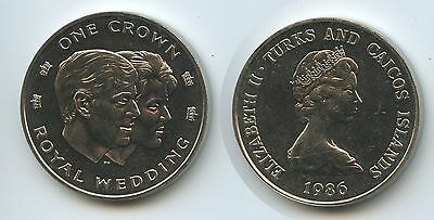 GS575 - Turks & Caicos One Crown 1986 Royale Wedding KM#60 KN UNC Erhaltung