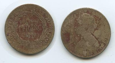 G2652 - Martinique 1 Franc 1897 KM#41 SEHR RAR Colonie Francaise