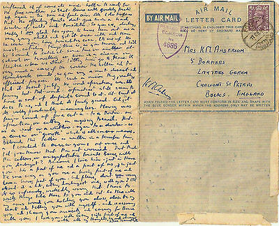 DEC 1944 EGYPT PREPAID AIRMAIL LETTERCARD- GB w/GOOD MEDICAL LETTER
