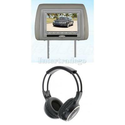 "7"" Digital TFT LCD Car Headrest Monitor DVD Player USB SD IR FM +Headphone Gray"