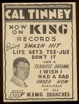 1948 Cal Tinney photo  King Records trade print ad