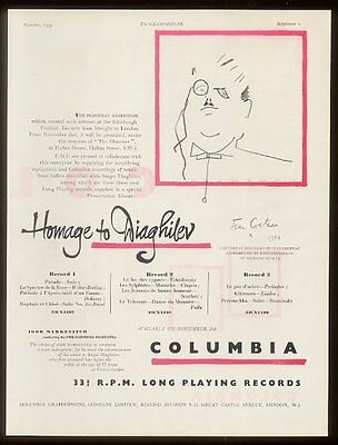 1954 Jean Cocteau drawing of Sergei Diaghilev Columbia Records UK print ad