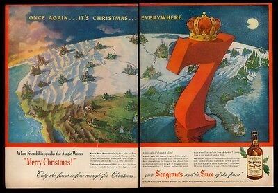 1950 Christmas tree & lights map Seagram's 7 Crown whisky vintage print ad