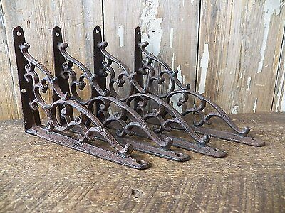 "Lot 4 Antique-Style Rustic Brown Cast Iron SMALL 5 1/4"" x 7"" SHELF BRACKETS"