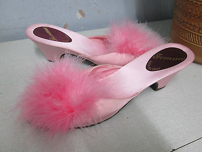 Femme, Italian pink peep-toe mules with ostrich feathers - size 6 1/2