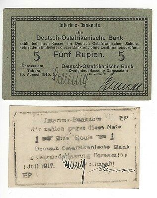 German East Africa Emergency Wwi Issued 1915-17 1 & 5 Rupien Notes  Scarce!