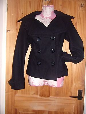 womens black double breasted pea coat size 8 by TOPSHOP