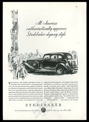 1934 Studebaker car mother and daughter art vintage print ad
