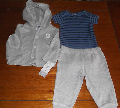NWT Carter's Baby Boy 3 Piece Set Of  Hoodie - Pants -Bodysuit  Size 3 Months