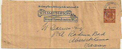 1929 KGV WH SMITH & SON 1½d STO WRAPPER LONDON- SAXONY GERMANY