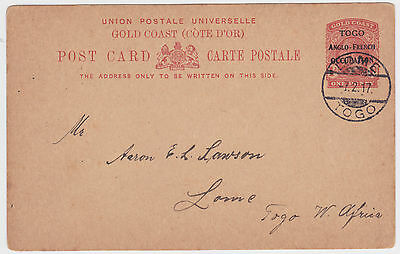 1917 Togo/gold Coast Anglo French Occupation Postal Stationery Pc Used Lome