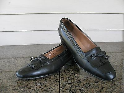 Church's Hand Made Womens Sz 6 B Black Loafers Block Heel Women's Shoes EUC
