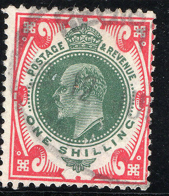 Edward Vii Sg314 1/- Green & Carmine -  Average Used