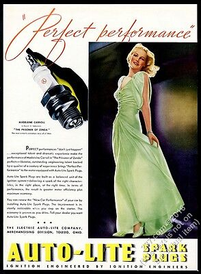 1937 Madeleine Carroll color photo Auto-Lite Spark Plugs vintage print ad