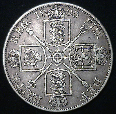 1890 Silver British Double Florin UK Victoria Great Britain Coin VF