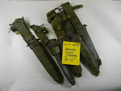 "Super Deal! Lot Of 5 Broken M8A1 Scabbards Sold ""as Is"""