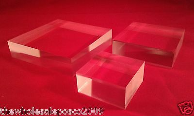 Acrylic Perspex Display Blocks Retail Jewellery Stands Various Size Riser