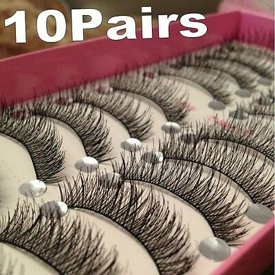 NICE Long Thick Cross 10Pairs Makeup Beauty False Eyelashes Eye Lashes