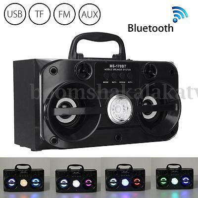 LED Bluetooth Wireless Portable with USB/TF/AUX/FM Radio Stereo Outdoor Speaker