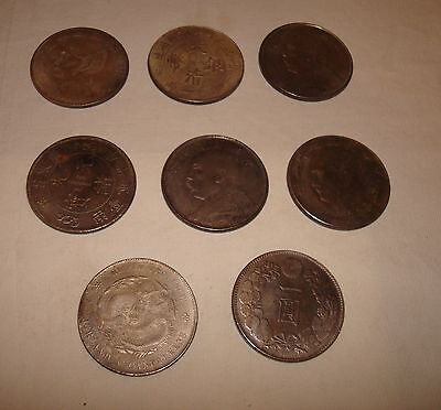 Lot of 8 Old Chinese Coins, Foreign Chinese coins  old coins