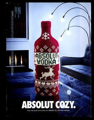 2001 Absolut Cozy vodka bottle in Christmas sweater photo vintage print ad